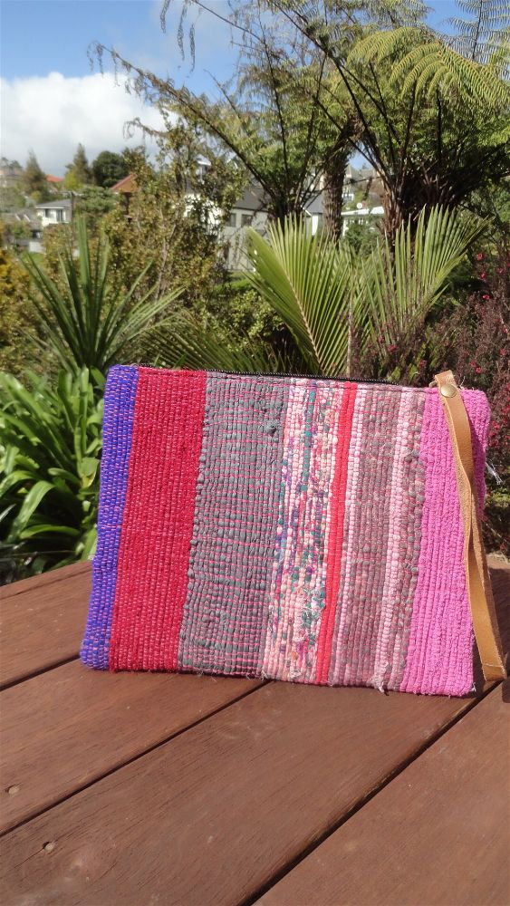 Rag Rug Toiletry Bag - Pink verticals