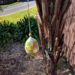 Blue Pottery Bird feeder - Yellow